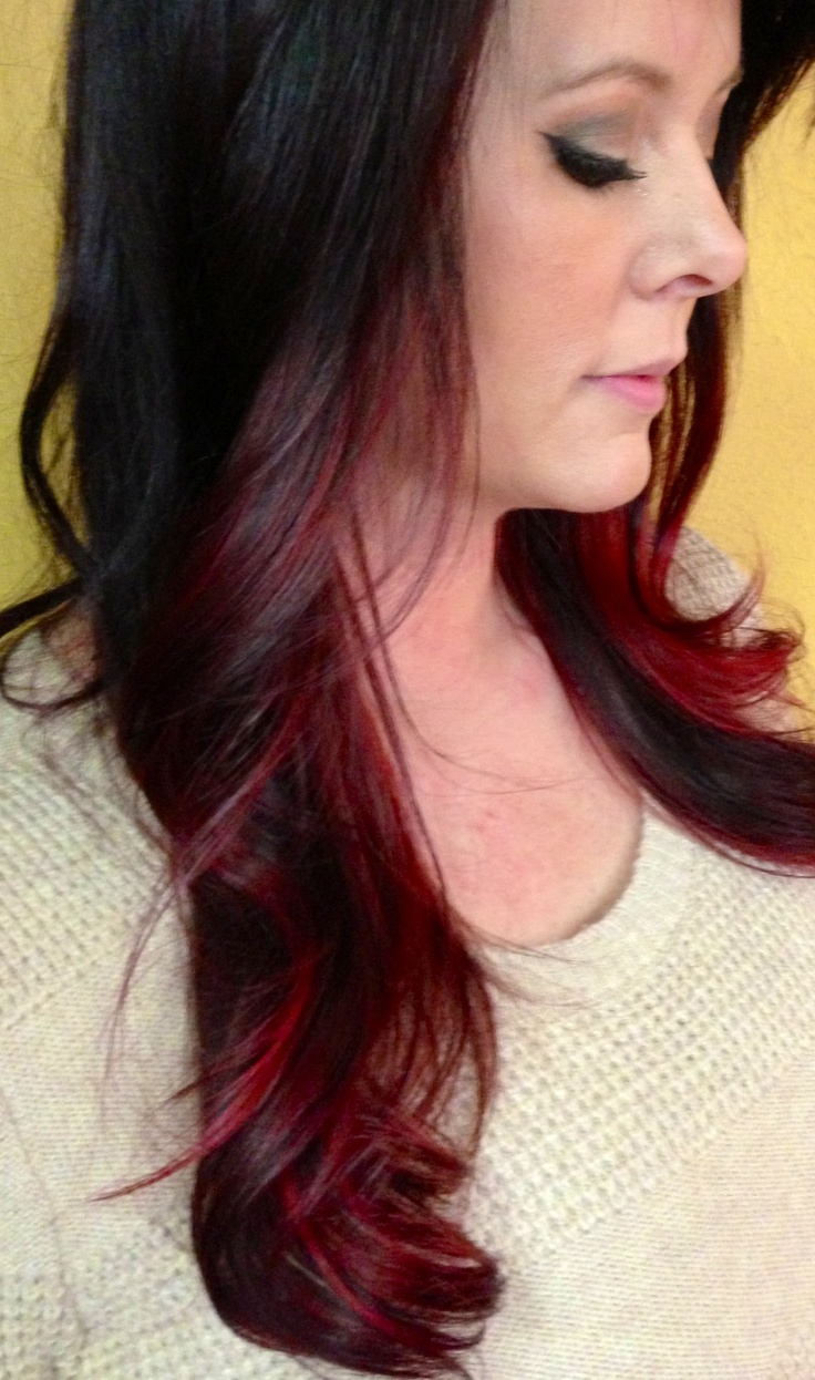 Black hair with blonde ends - Dark Brown Base To Fiery Red Violet Ends