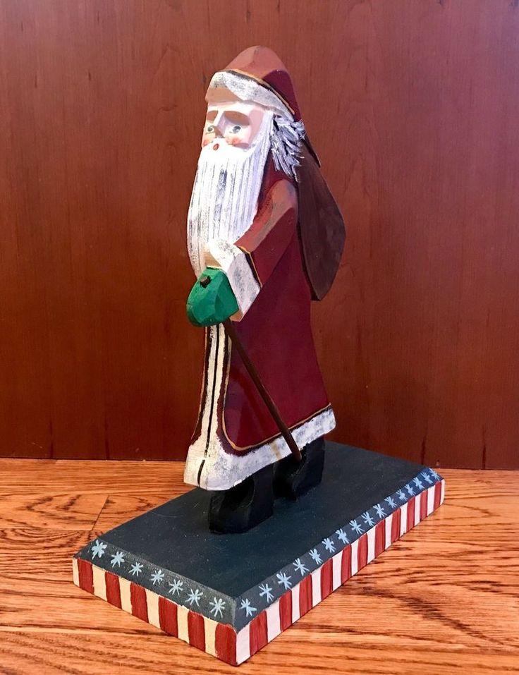 2002 Folk Art Primitive Patriotic Wood Carved Santa