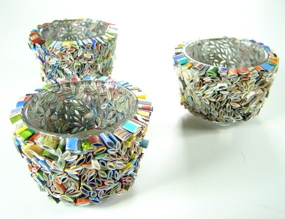 votive candle holder- made with recycled magazines