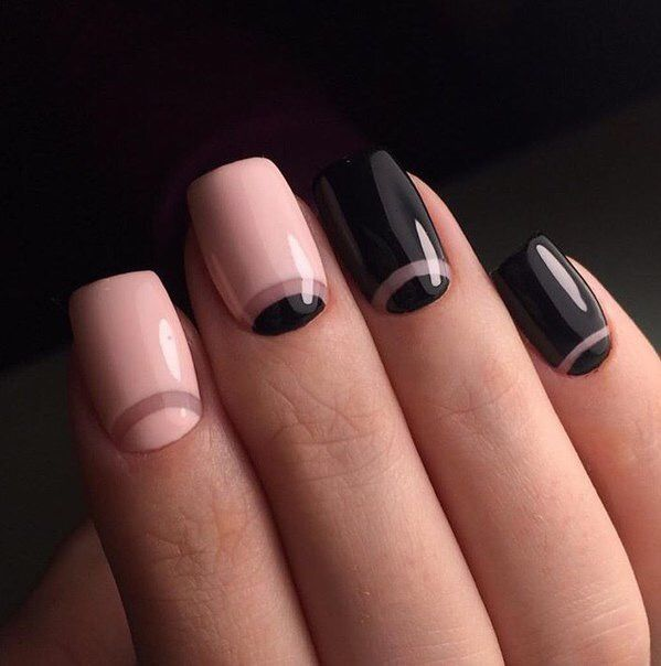 Pink and black with negative space half moons