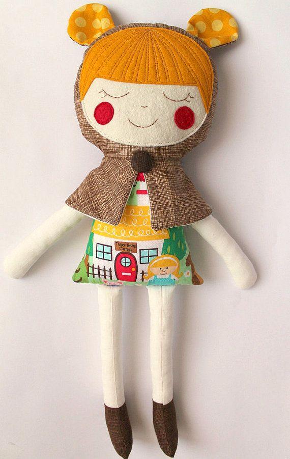 Goldilocks handmade rag doll. Soft cloth doll toy. Gift by blita