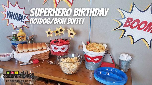 Superhero / Wonder Woman Birthday Party - Hotdog / Brat Buffet - cobornsblog.com