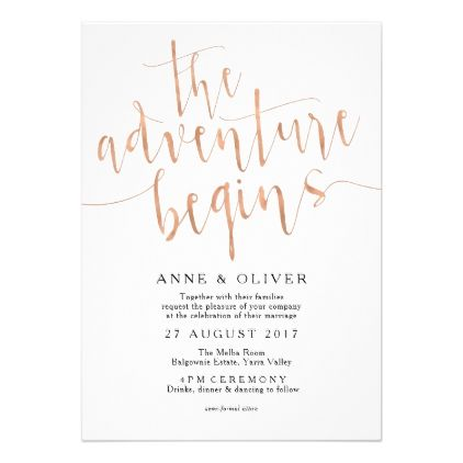 Rose Gold Wedding Invitation The Adventure Begins - script gifts template templates diy customize personalize special