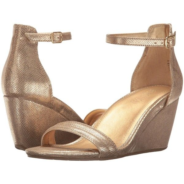 Kenneth Cole Reaction Cake Icing (Soft Gold) Women's Wedge Shoes ($56) ❤ liked on Polyvore featuring shoes, sandals, gold, gold wedge sandals, open toe wedge sandals, high heel shoes, wedge shoes and gold high heel sandals