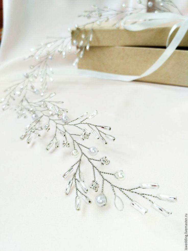 Купить Свадебное украшение для волос - серый, свадебное украшение, свадебный аксессуар, украшение для невесты