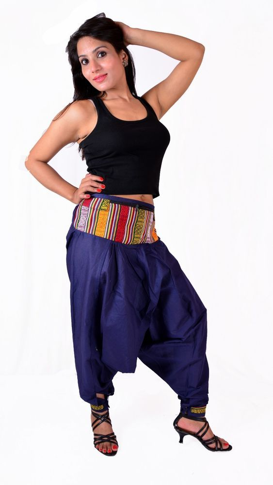 Indian Women Cotton Harem Pants Alladdin Trousers Baggy Hippie Gypsy - D41 #Handmade #HaremPants