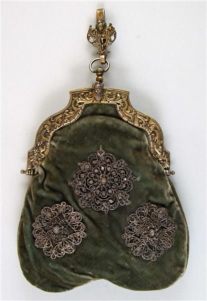 "Wallet, ""Ironing Bag"": ca. before 1880, European, silk, silver, silk velvet, strap."