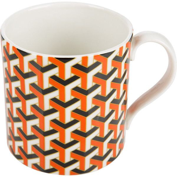 Jonathan Adler Carnaby Mug - Versaille - Orange ($28) ❤ liked on Polyvore featuring home, kitchen & dining, drinkware, orange, orange mugs, hot drink cups, tea mug, porcelain mugs and jonathan adler
