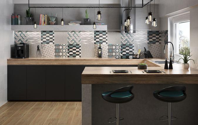 Kolekcja matowych płytek ściennych łącząca modną, surową stylistykę cementów z intensywnymi, geometrycznymi dekoracjami. Zestawienie to doskonale prezentuje się w nowoczesnych łazienkach i kuchniach.