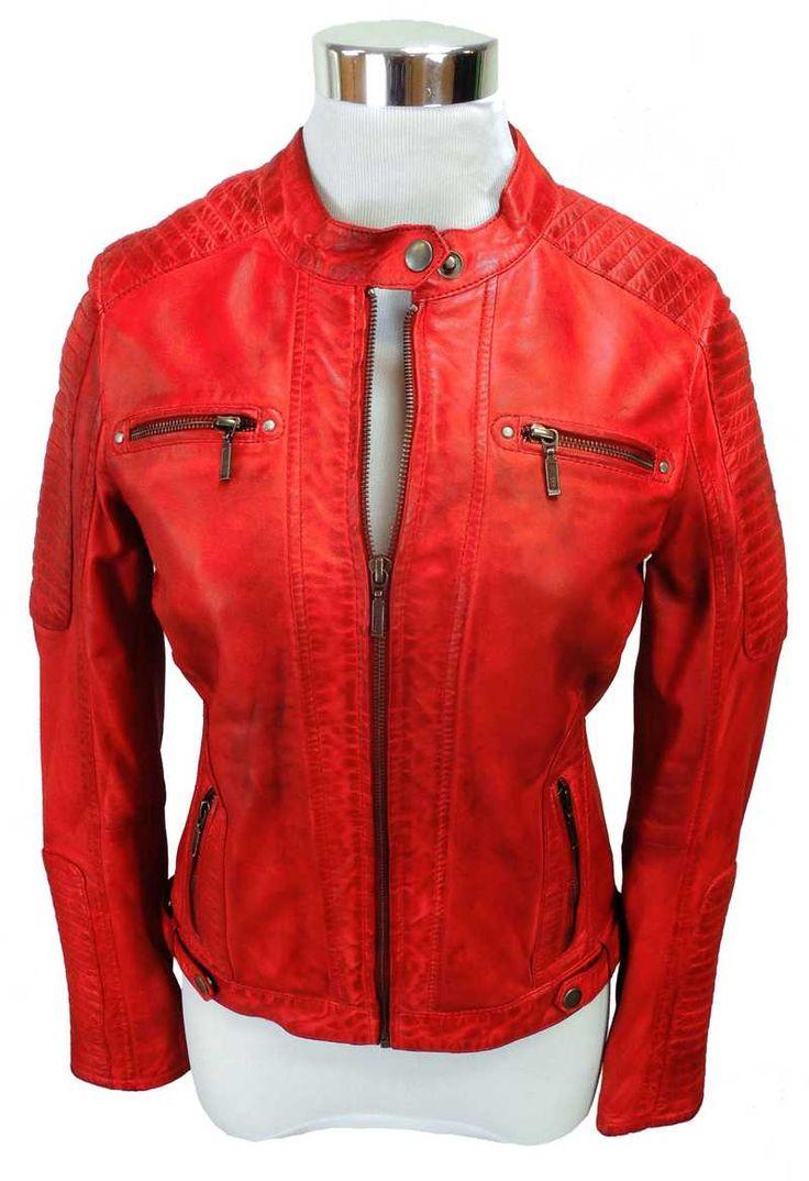 Rote Lederjacke von Bruce Field im sexy, kurzen Bikerstil | 149,45 € | Erhätlich auf Marken-Lederjacken.de
