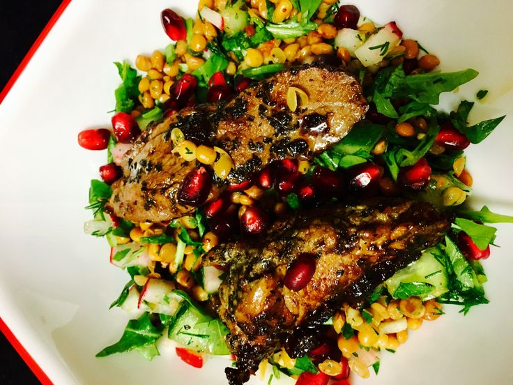 Lentil and radish salad with sliced lamb