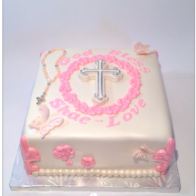 Pink and Pearl 1st Holy Communion cake by Cake Me I'm Yours.