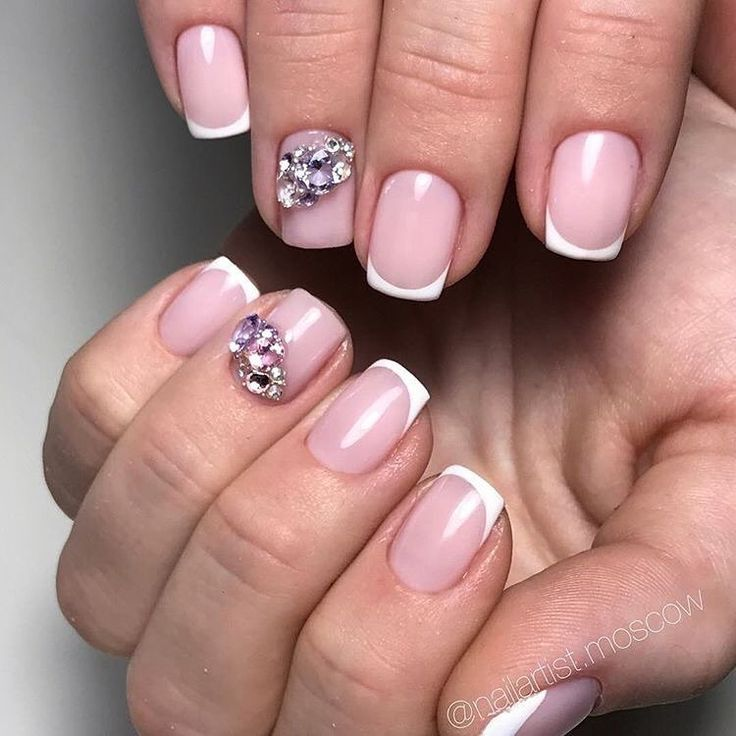 Delicate wedding nails, Evening french manicure, Fashion nails 2017, French manicure with rhinestones, Nails ideas 2017, Nails trends 2017, Nails with rhinestones ideas, Square nails