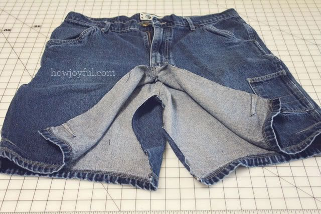 Belly Sewing: $1 Maternity Jean skirt from men's shorts | How Joyful