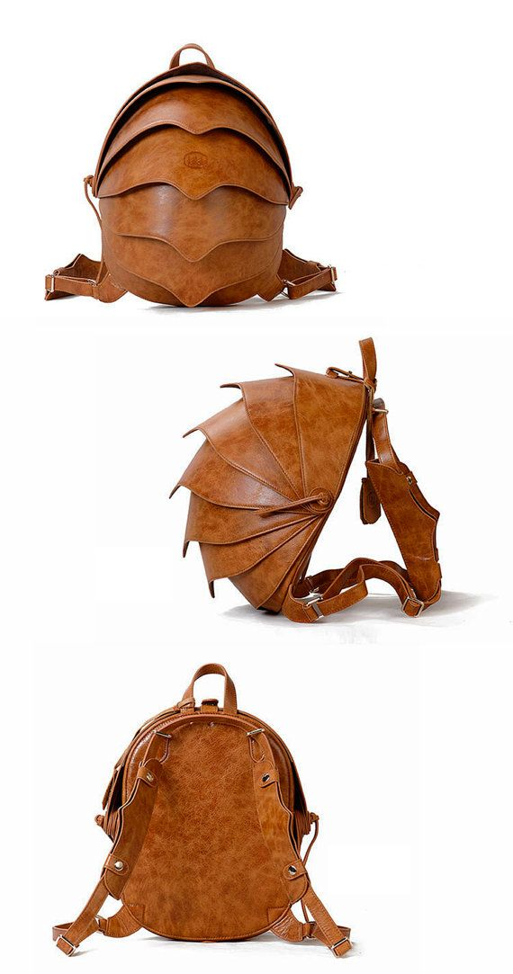 Leather Backpack or Crossbody Bag-Small Brown Beetle bag Cross Body or back pack- For Women or For Men