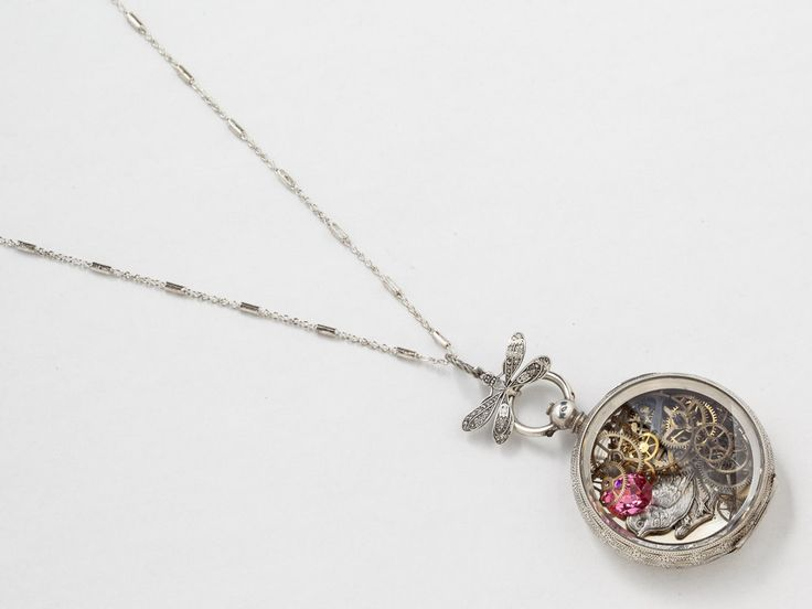 Antique Sterling Silver Pocket Watch Case Necklace Hand Engraved Flowers with Bird Dragonfly Gears and Pink Tourmaline Locket
