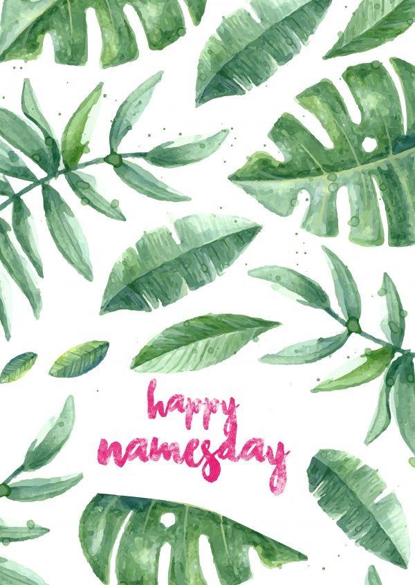 happy namesday mit blättern | Glückwünsche | Echte Postkarten online versenden | MyPostcard.com