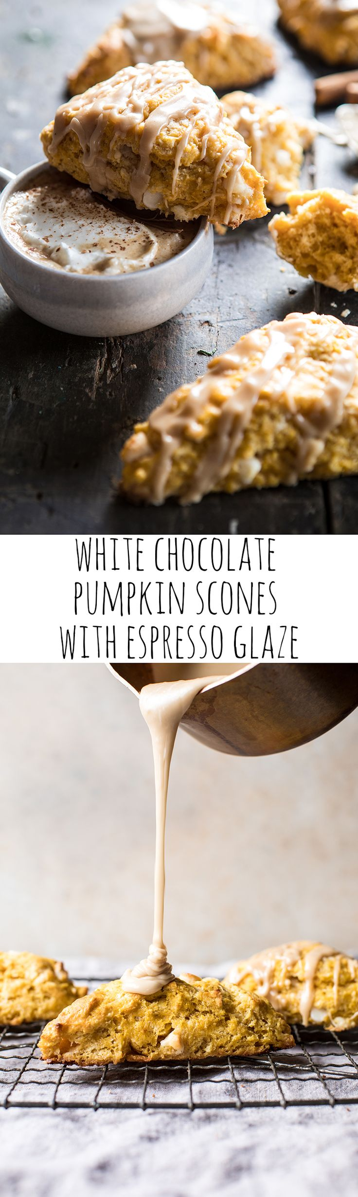 White Chocolate Pumpkin Scones with Espresso Glaze | halfbakedharvest.com @hbharvest