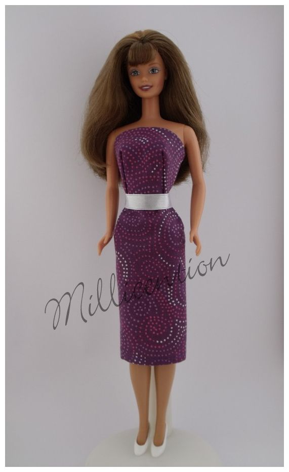Purple Barbie doll sheath dress