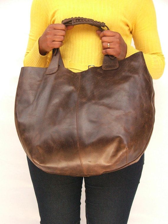 Women Market bag women Leather tote bag Dark brown by abizema, $79.99