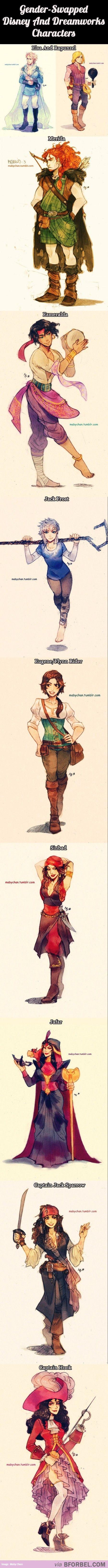 genderbent: Disney Dreamworks Pixar, Dreamworks Characters, Disney Genderbends, Disney Gender Bend, Genderswap Disney, Disney And Dreamworks, Gender Swapped Disney, Disney Genderbent