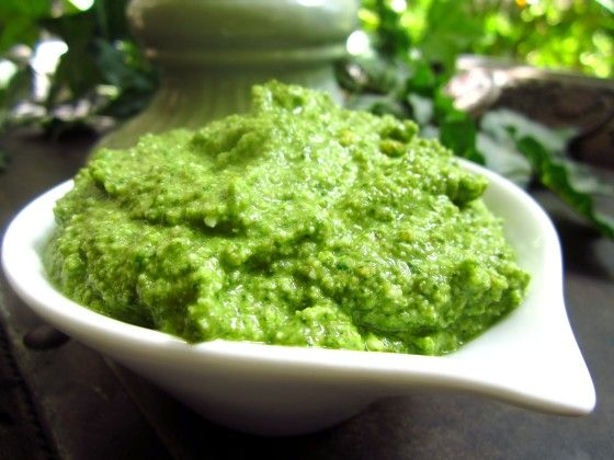 This is my favorite pesto recipe; rich but healthy due to  good  fats from olive oil and walnuts. It comes from  The Omega Diet.  I usually freeze half the recipe for future use.