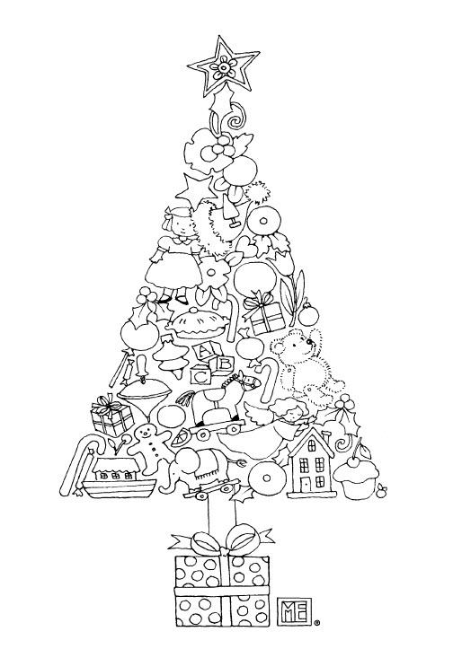 Tree of Ornaments free coloring page from Mary Engelbreit!