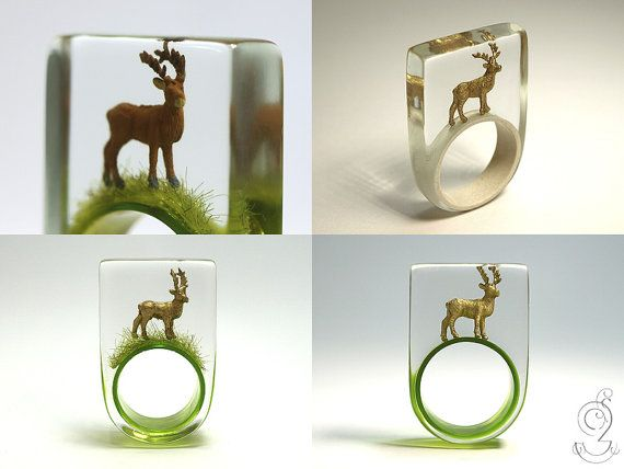 Wood ease Funny deer ring with a brown by GeschmeideUnterTeck