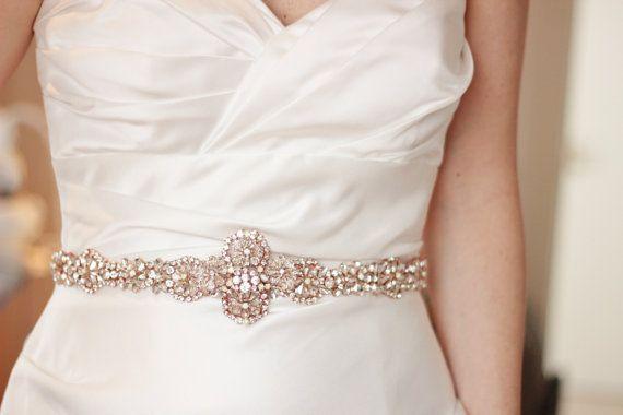 Rose Gold crystal bridal sash rose gold belt by abigailgracebridal