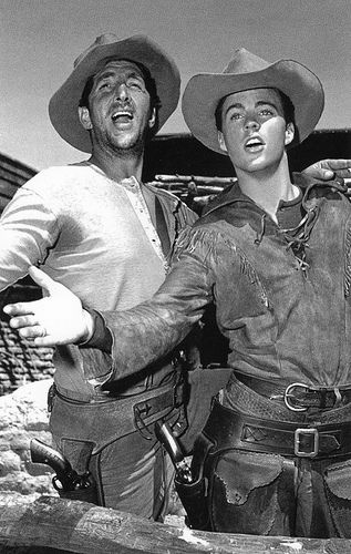 Dean Martin and Ricky Nelson, 'Rio Bravo*       now, if i recall.. this movie was Not a musical....  funny guys... from different generations...