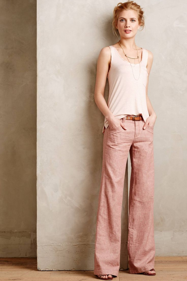 Pilcro Herringbone Linen Trousers - anthropologie.com - like the soft silk/cotton tank in a lighter shade of the pink trousers