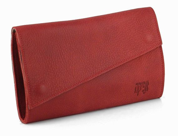 Red Leather Wallet / Envelope Evening Wallet / Elegant Wallet / Casual Cards Slots Wallet / Women Purse / Soft Leather Wallet  - Ben