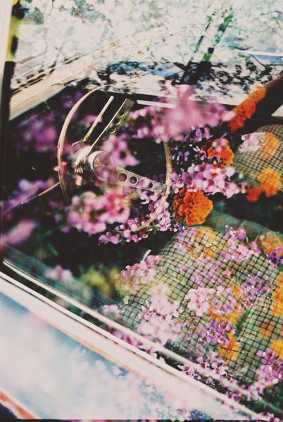 džesika devic: Window Film, Vintage Cars, Bohemian Bride, Cars Riding, Flowers Power, Floral Reflection, Reflection Photo, Old Cars, Photo Shoots