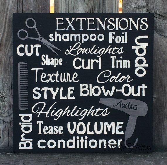 Want the perfect gift for your favorite stylist? Maybe its a shop opening, or just a thank you. Either way, this sign is going to be a hit! Your hairstylist will know just how much you appreciate him/her when they see this sign. Sign can be customized with your stylists name up to 10 characters inside of the blow dryer. Please convo me the name you select.  This sign is made of pine and is approximately 11 x 11. This sign is cut, sanded and hand-painted by me. Shown in black with white…