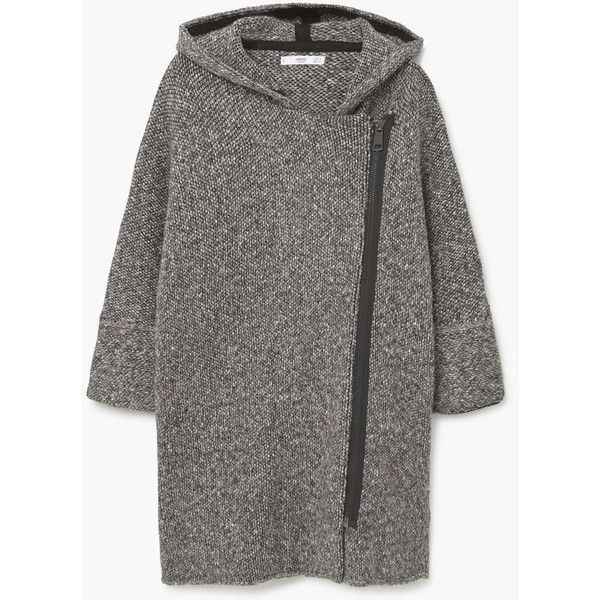 MANGO Hooded Cotton Coat (€89) via Polyvore featuring outerwear, coats, cotton coat, lapel coat, hooded coat and mango coat
