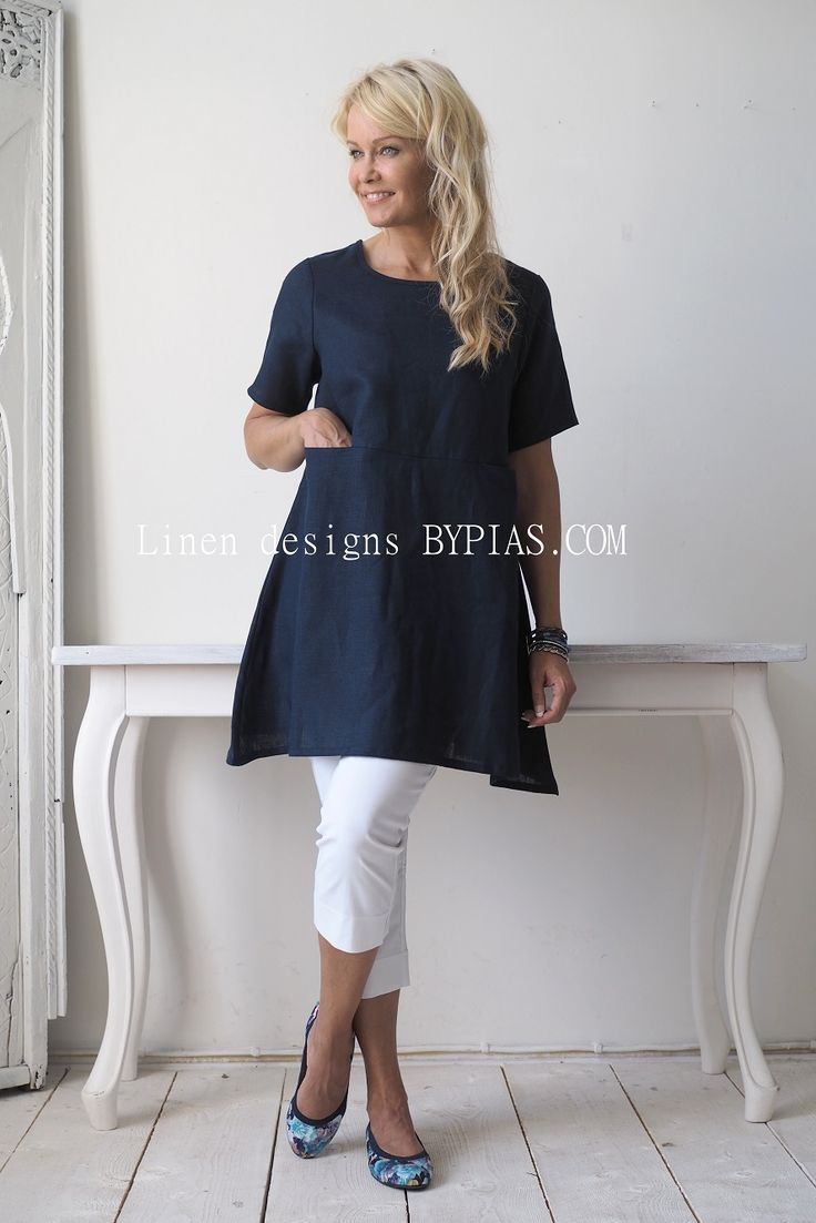 TIMELESS Linen Tunic, Navy - BYPIAS Linen Tunics - BYPIAS More