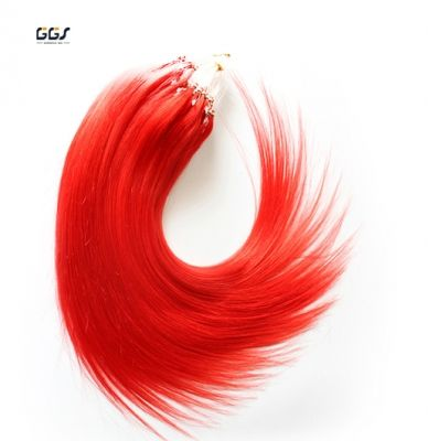 Micro Ring Hair Extensions Red Straight Wave Brazilian Hair Unprocessed Virgin Remy Nano Loop Hair Weaves 5A 100g