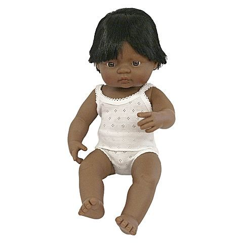 The Baby Doll Latino American Boy, 38 cm from Miniland makes the perfect toy with its well-defined features and sweet vanilla scent.