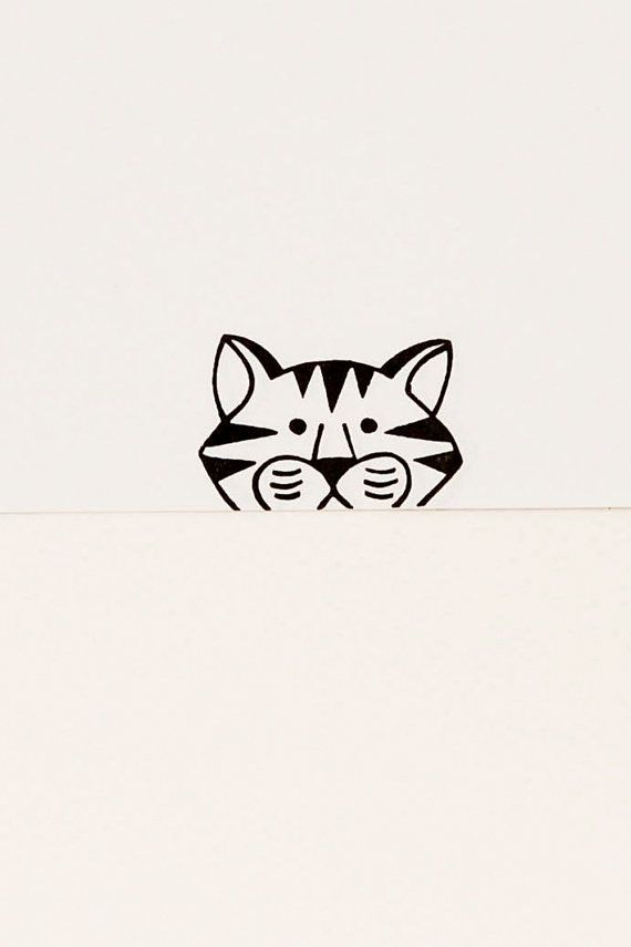 Lovely tiger peek-a-boo stamp - Funny animal unmounted rubber stamp - Crafted stamp for diy, scrapbooking