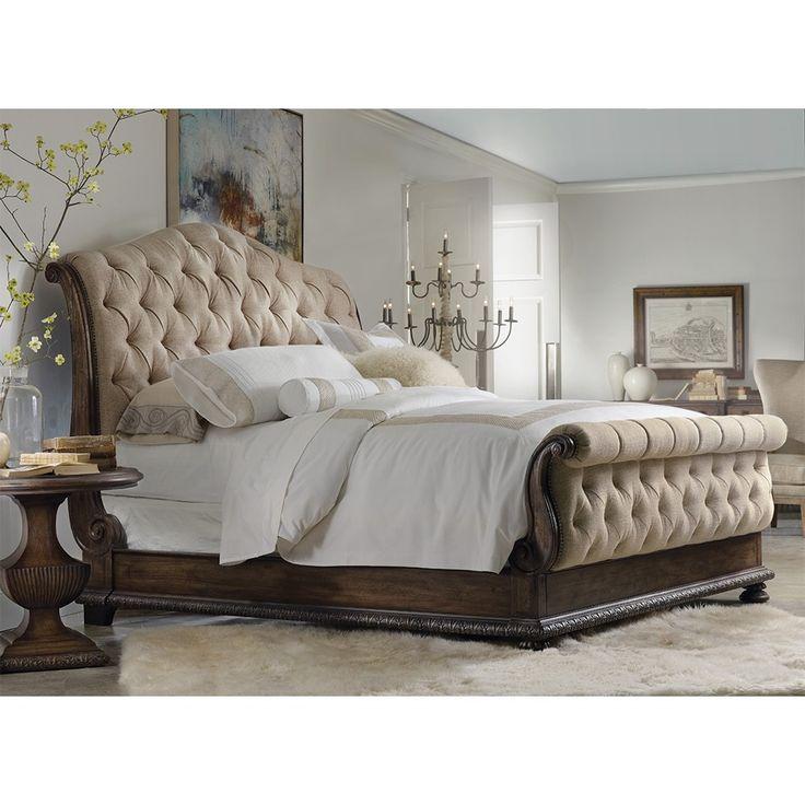 hooker rhapsody wood u0026 upholstered tufted bed in rustic walnut aurora ecru by humble
