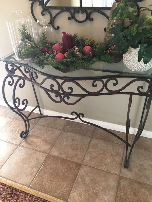 Rustic Wrought Iron Console Table For Sale In Murrieta Ca