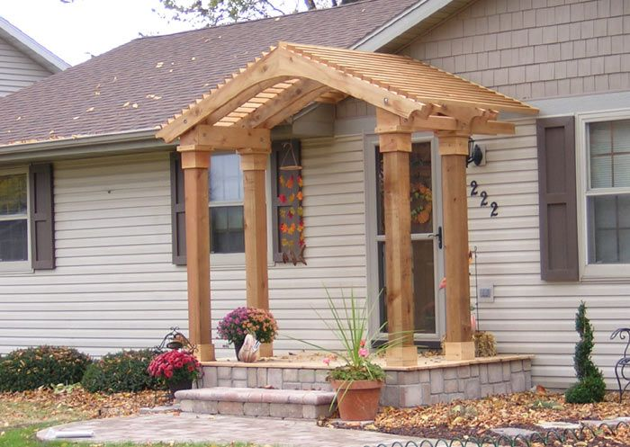 Cedar Arbor Deck And Stone Veneer House Front Porch