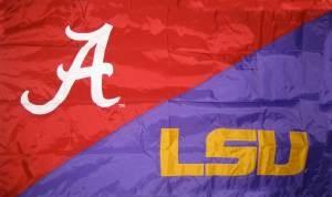 Alabama/LSU hand sewn house divided flag. $64.99