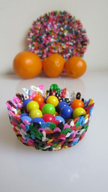 Bowl of melted plastic beads!  For use on the Light Table.