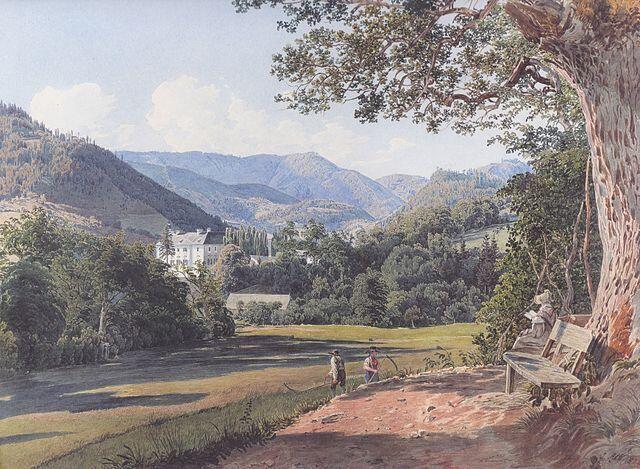 Jakob Alt(1789 – 1872 a German painter and lithographer)「stieber castle」(1834)