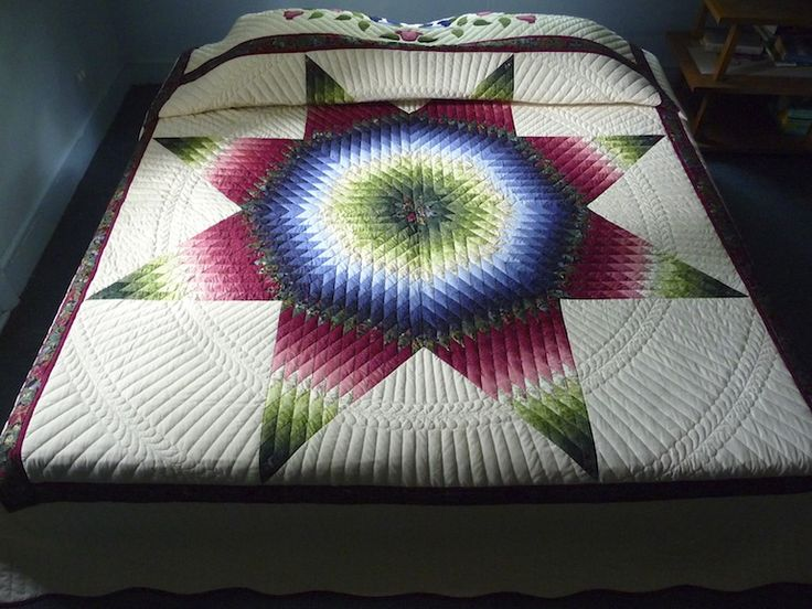 Amish Radiant Star Quilt Pattern Full View Lone Star