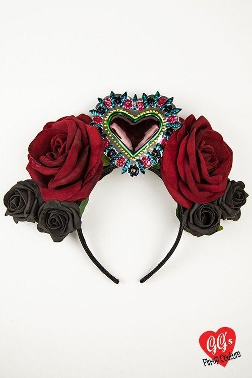 frida kahlo inspired gothic halloween fascinator sacred heart mexican vinta