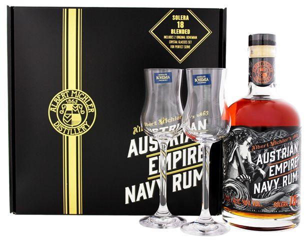 Austrian Empire Navy Rum Solera 18YO + 2 glazen