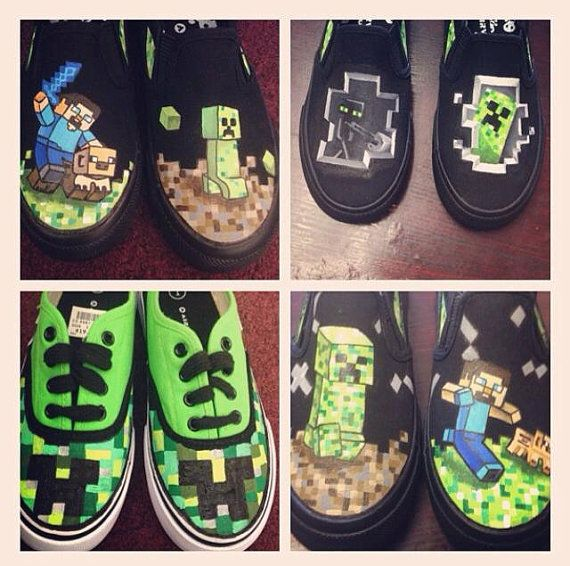 Hey, I found this really awesome Etsy listing at https://www.etsy.com/listing/188630979/custom-minecraft-shoes-customizable