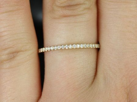 Priscilla 14kt Gold Ultra Thin Almost Around Diamond Eternity Band